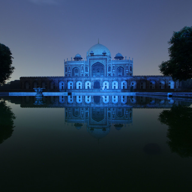 """""""Humayuns tomb monument is illuminated in blue"""" stock image"""