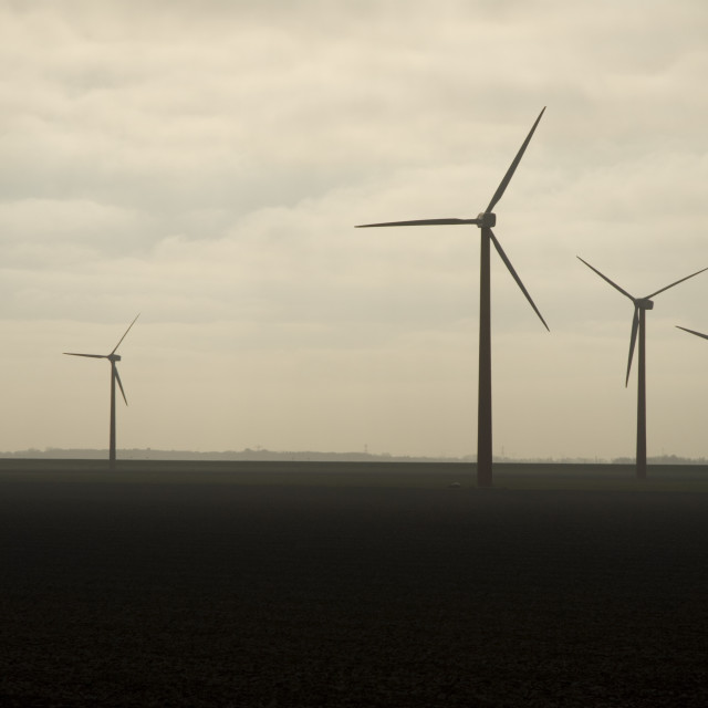 """Wind turbines Flevopolder, Windturbines Flevopolder"" stock image"