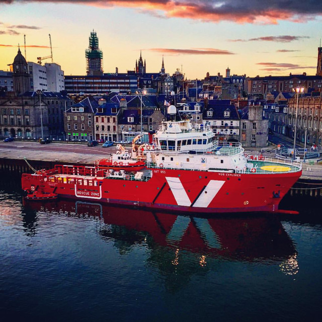 """Sunset, Aberdeen Harbour, Scotland."" stock image"