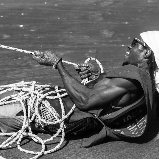 """Pulling Fishing Net"" stock image"
