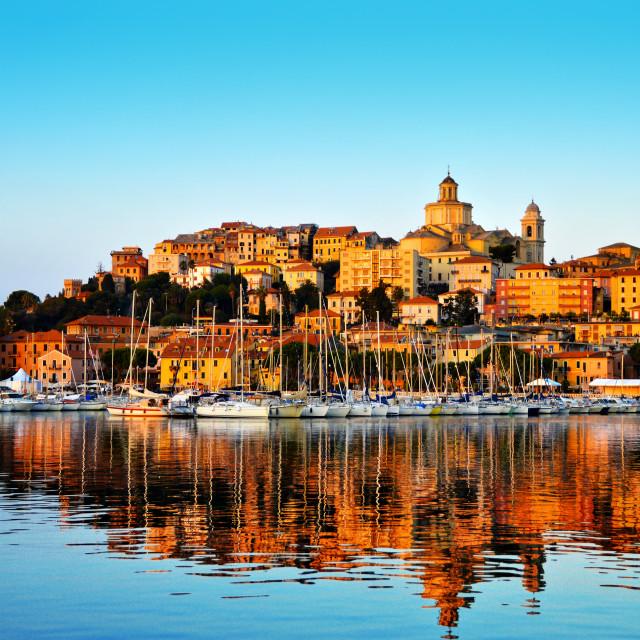 """City of Imperia, Liguria, Italy during sunrise"" stock image"