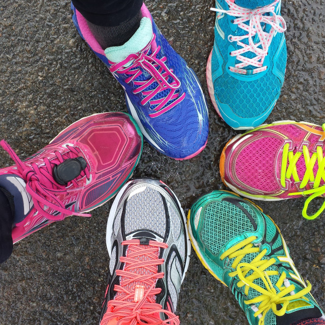 """""""Overhead view of running shoes"""" stock image"""