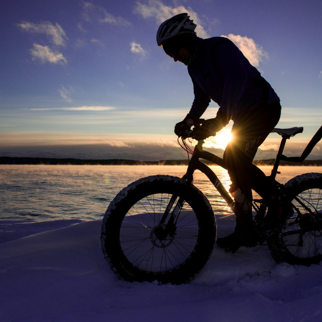 """Fat biking in winter"" stock image"