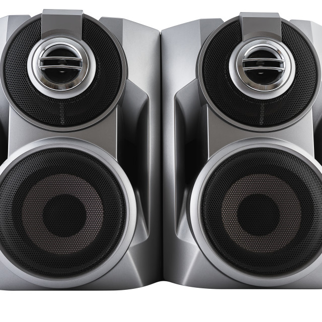 """Black speaker isolated with clipping path"" stock image"