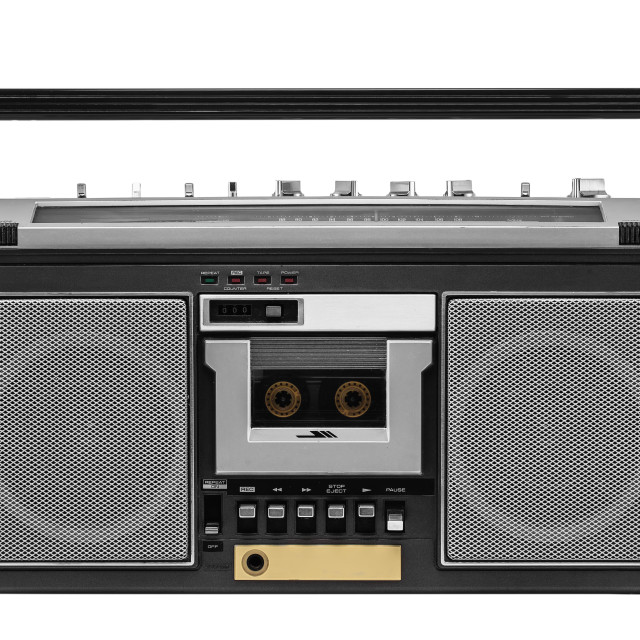 """""""Retro ghetto blaster isolated with clipping path"""" stock image"""