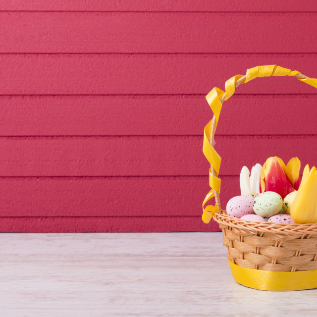 """Colored Easter eggs in the basket"" stock image"