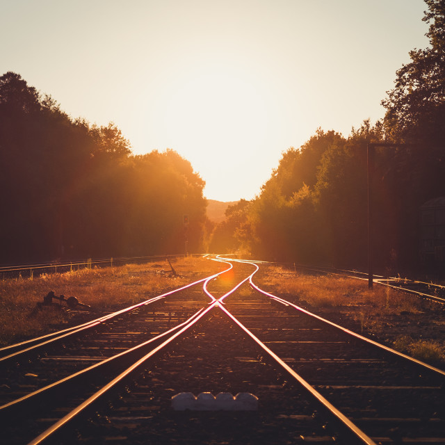 """railway sunset"" stock image"