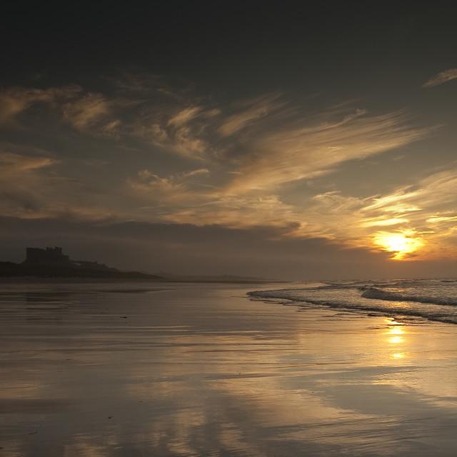 """Engelse kust Bamburgh Castle"" stock image"