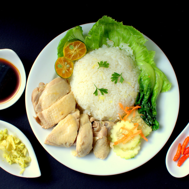 """Hainanese Chicken Rice"" stock image"
