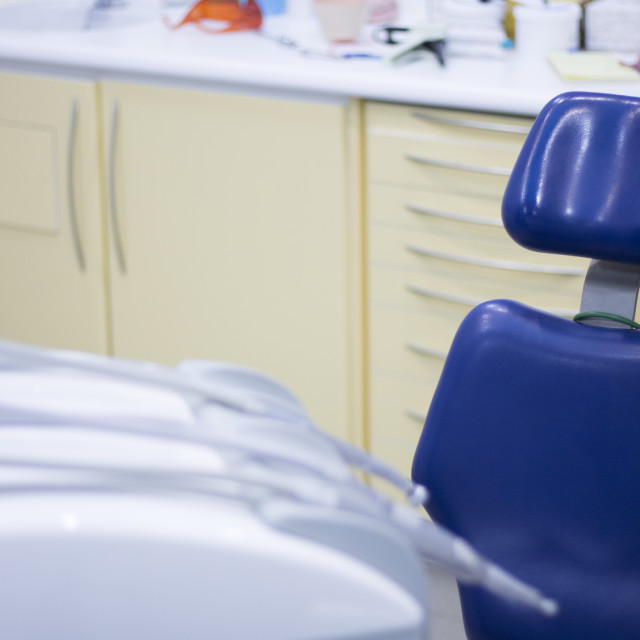 """""""Dentist's chair and dental drill"""" stock image"""
