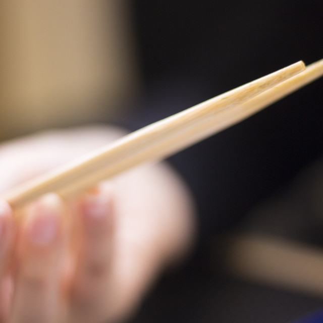 """Traditional Japanese wooden oriental chopsticks"" stock image"