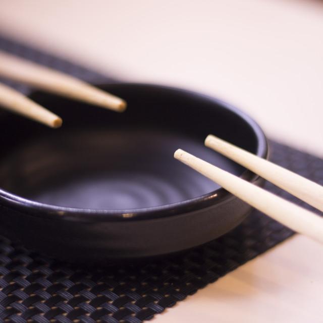 """Traditional Japanese wooden oriental chopsticks"" stock image"