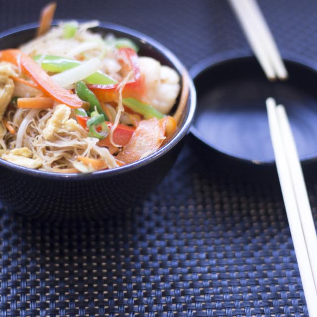 """Chinese restaurant fried vegetables chopsticks"" stock image"