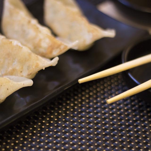 """""""Japanese restaurant sushi gyoza chopsticks"""" stock image"""
