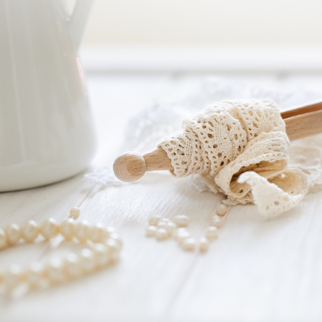 """Lace and pearls"" stock image"