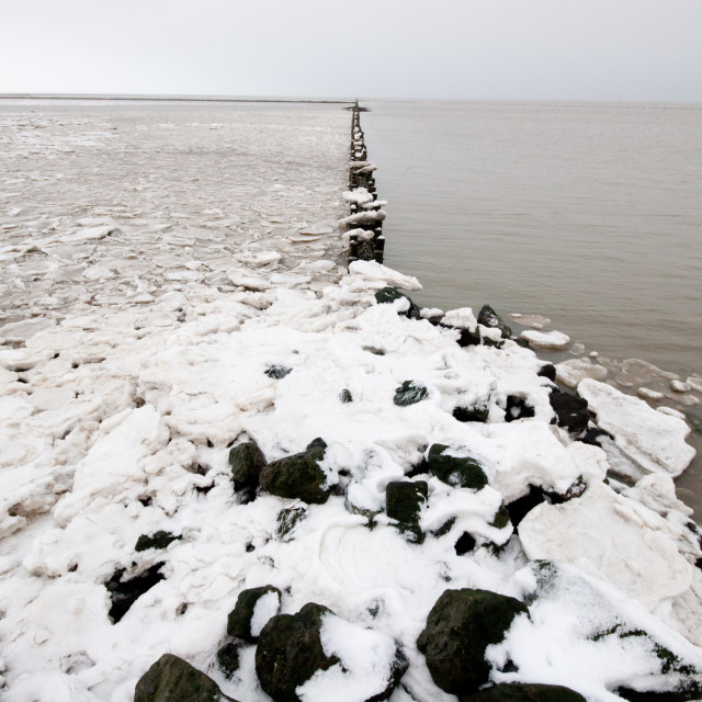 """Waddenzee in winter"" stock image"