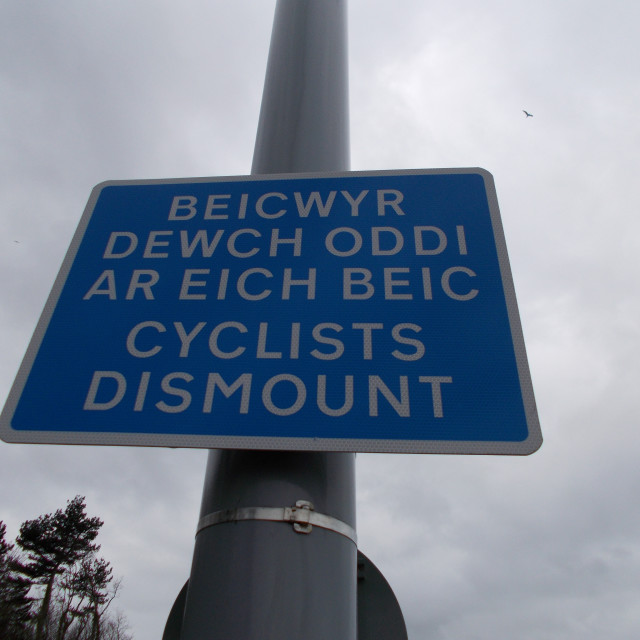 """Bilingual Sign for Cyclists"" stock image"