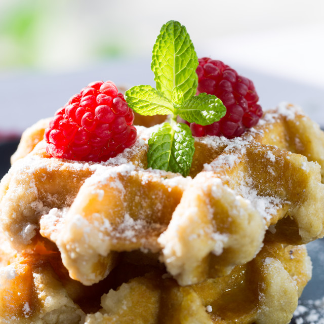 """Delicious homemade waffles"" stock image"