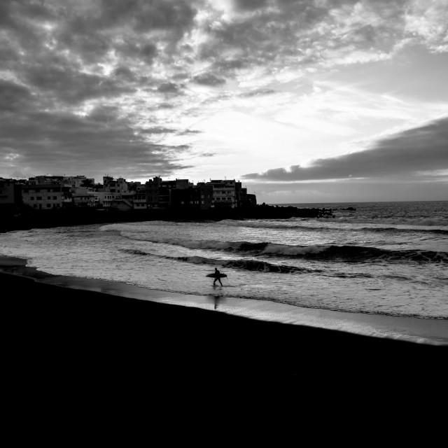 """""""Surfer's Black & White"""" stock image"""