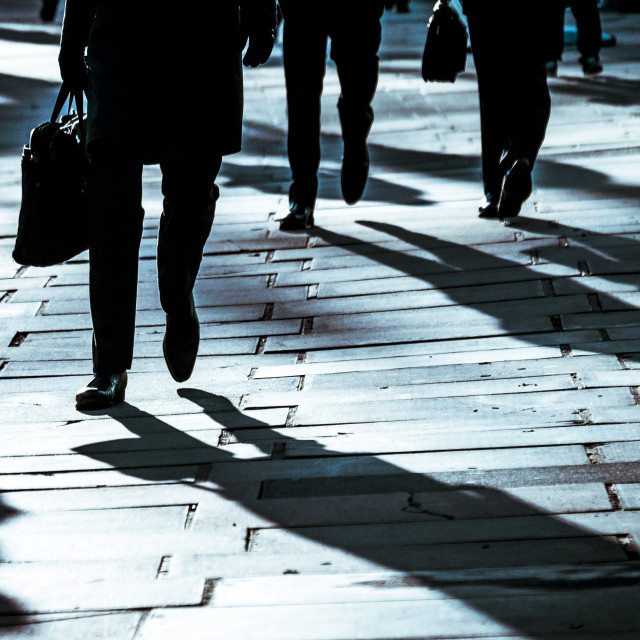 """""""Commuters Walking Along The South Bank, London"""" stock image"""