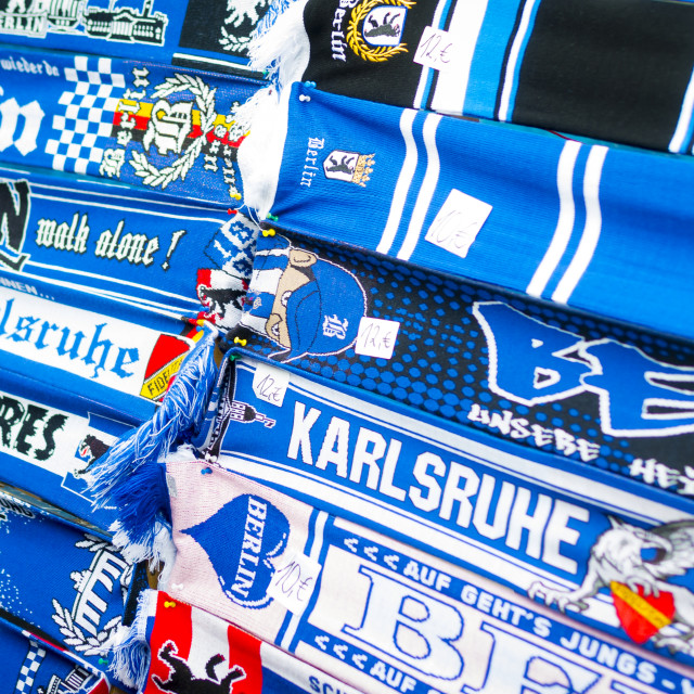 """Hertha BSC German Football Team Scarves For Sale"" stock image"