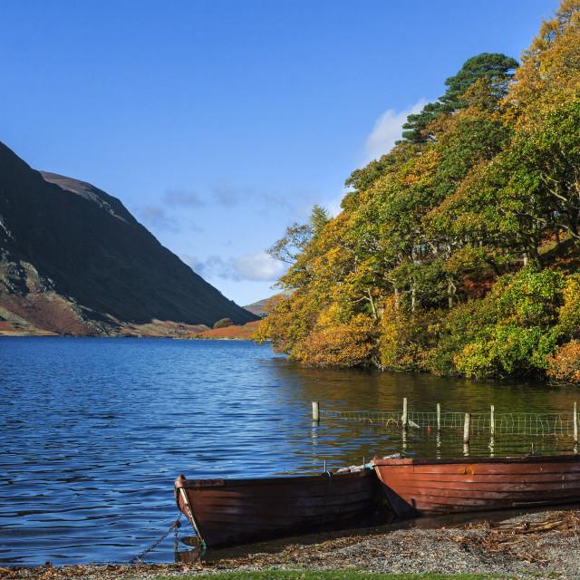 """""""Boats at Crummock Water"""" stock image"""