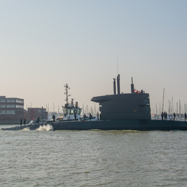 """HNLMS Walrus arriving at Portsmouth, UK."" stock image"
