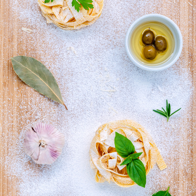 """""""Italian food concept pasta with vegetables olive oil and spices herbs parsley..."""" stock image"""