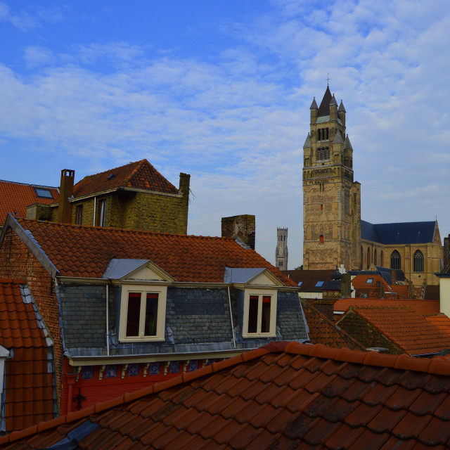"""""""View above Bruges"""" stock image"""