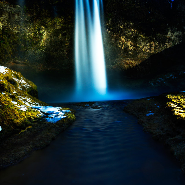 """Seljalandsfoss at night"" stock image"