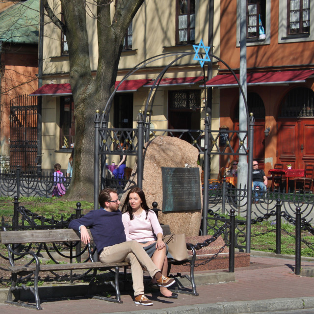 """Relaxing in Krakow's former Jewish District"" stock image"