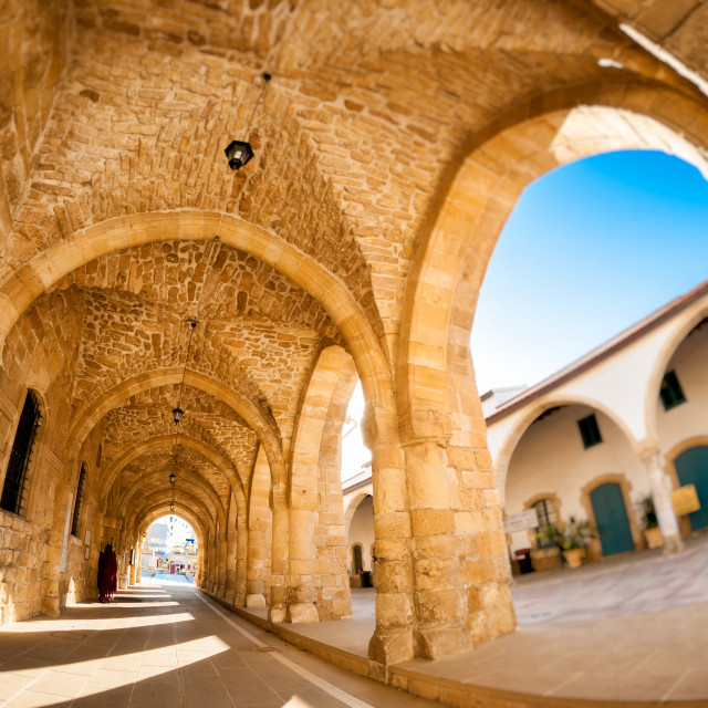 """Arcs of Ayious Lazarus Church, Larnaca, Cyprus"" stock image"