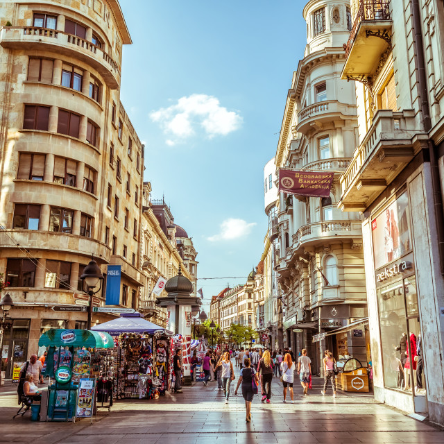 """Knez Mihailova Street, main shopping mile of Belgrade"" stock image"