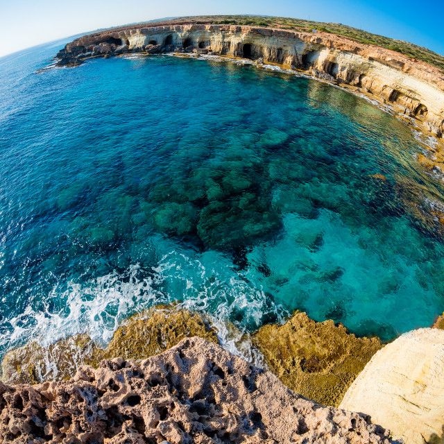 """Sea caves near Cape Greco. Ayia Napa, Cyprus"" stock image"