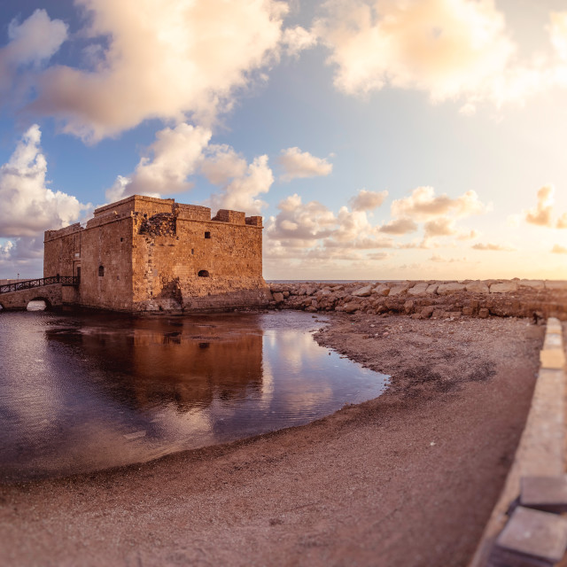 """Famous medieval castle at Paphos harbor. Cyprus"" stock image"
