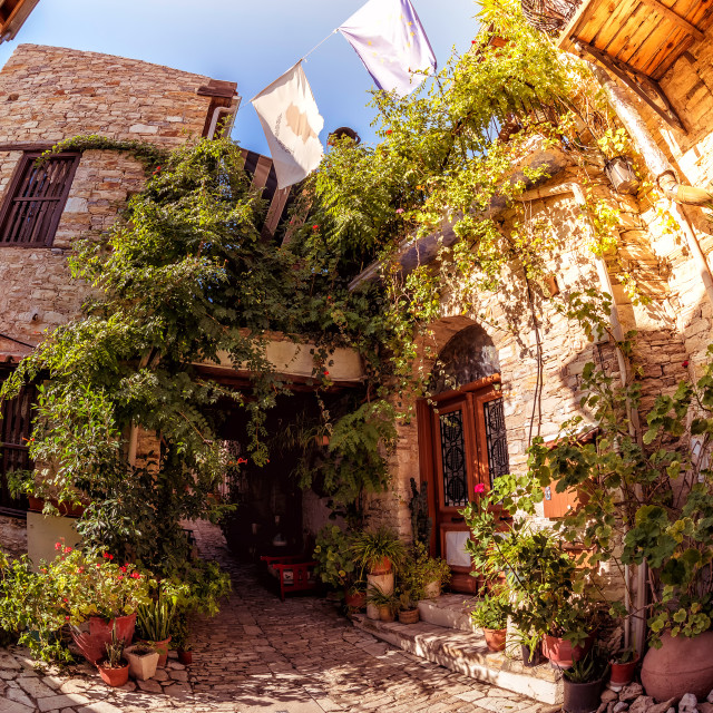 """Cozy courtyard in Lefkara (Pano Lefkara) village. Limassol District, Cyprus"" stock image"