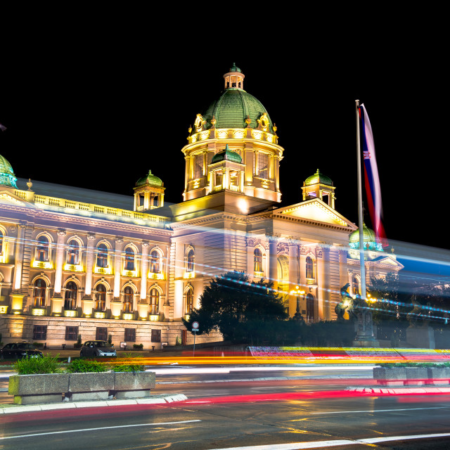 """Parliament of the Republic of Serbia in Belgrade at night"" stock image"