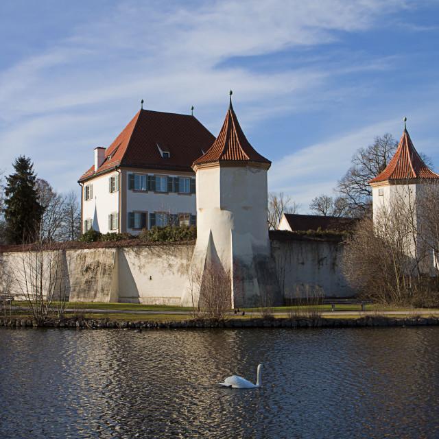 """Munich, Germany: Blutenburg Castle, on the banks of Würm river"" stock image"