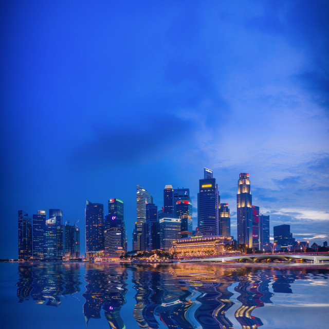 """""""Singapore skyline and view of the financial district"""" stock image"""