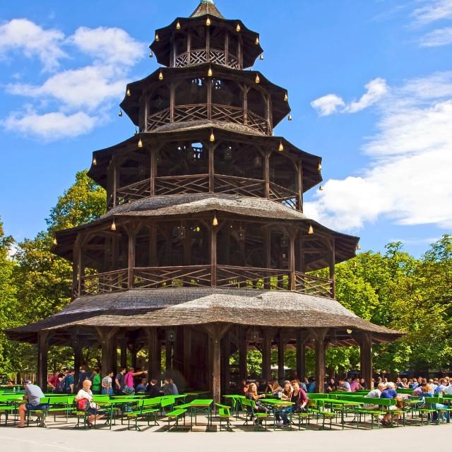 """Munich - Chinese tower beer garden at Englisher Garten"" stock image"