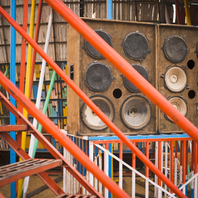 """""""Close-up of loudspeakers, Pushkar, Ajmer, Rajasthan, India"""" stock image"""