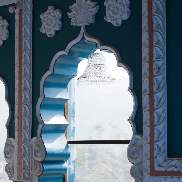 """""""Architectural details of the windows of a building, Pushkar, Ajmer,..."""" stock image"""