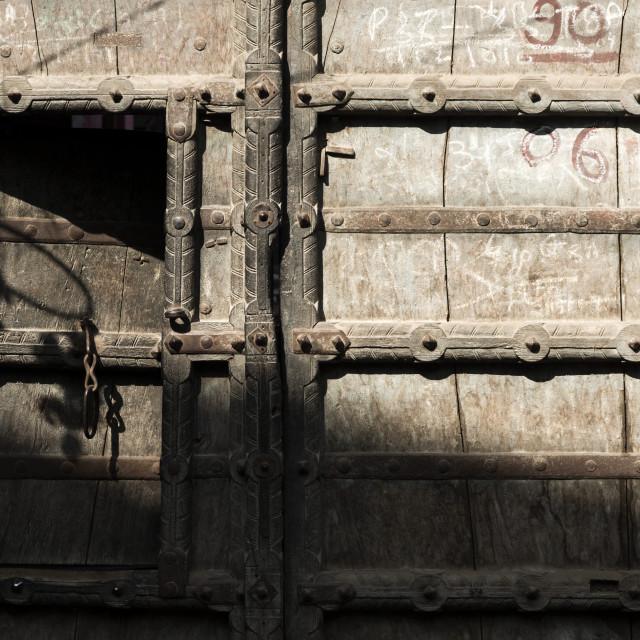 """Close-up of an old wooden door, Pushkar, Ajmer, Rajasthan, India"" stock image"