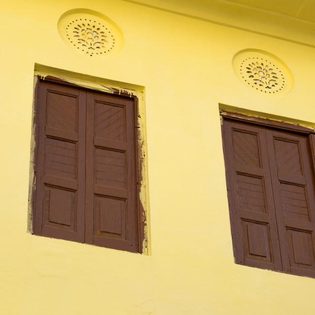 """Windows of a building, Pushkar, Ajmer, Rajasthan, India"" stock image"