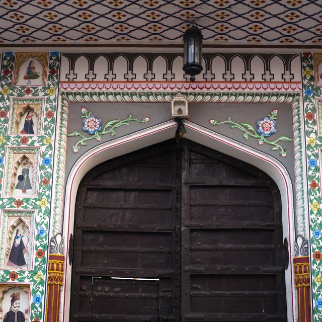 """Entrance of a building, Pushkar, Ajmer, Rajasthan, India"" stock image"
