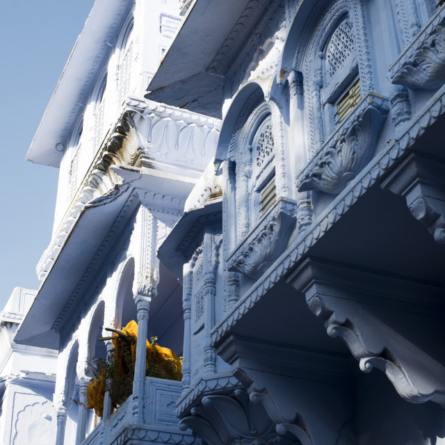 """""""Architectural details of a building, Pushkar, Ajmer, Rajasthan, India"""" stock image"""