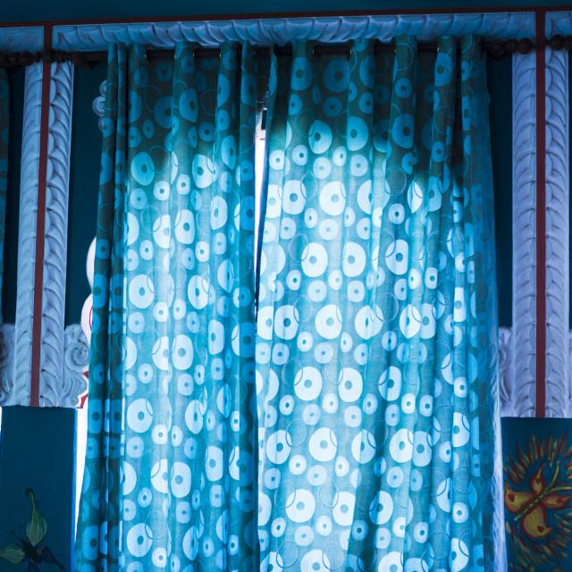 """Close-up of curtains on windows, Pushkar, Ajmer, Rajasthan, India"" stock image"
