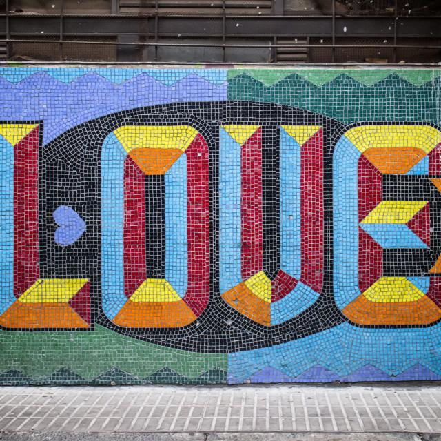 """Love Mosaic Wall Mural"" stock image"