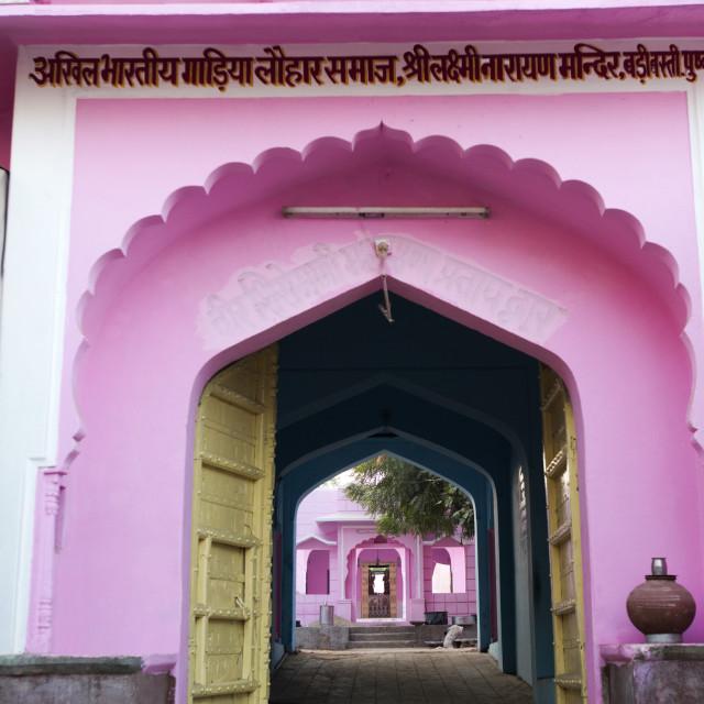 """Entrance of a temple, Pushkar, Ajmer, Rajasthan, India"" stock image"