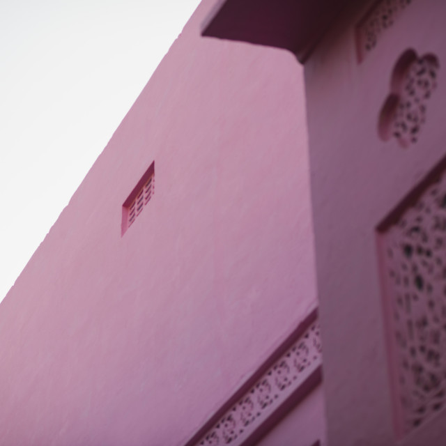 """""""Low angle view of a pink building, Pushkar, Ajmer, Rajasthan, India"""" stock image"""